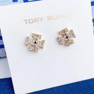 Tory Burch Logo Gold Diamond Earrings